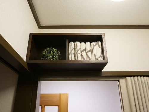 洗面所に無印良品の箱を設置